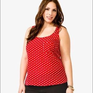 Red and white heart print tank